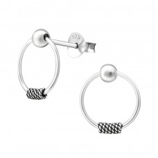 Ball Hanging Circle - 925 Sterling Silver Basic Silver Ear Studs A4S36251