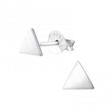 Triangle - 925 Sterling Silver Plain Ear Studs A4S36633