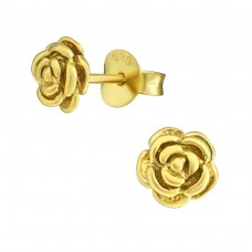 Rose - 925 Sterling Silver Plain Ear Studs A4S36687