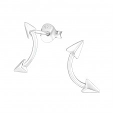 Arrow - 925 Sterling Silver Plain Ear Studs A4S36693