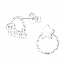 Rock Star - 925 Sterling Silver Plain Ear Studs A4S36951