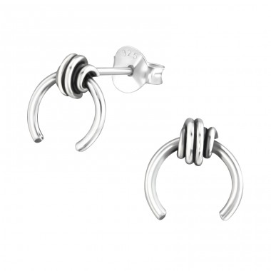 Knot - 925 Sterling Silver Plain Ear Studs A4S36958