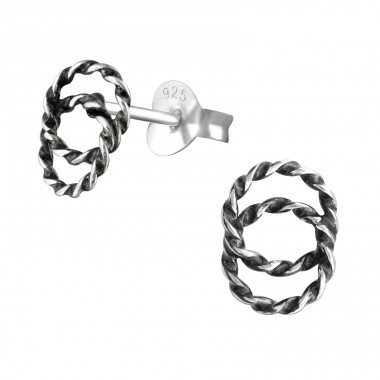 Twisted - 925 Sterling Silver Plain Ear Studs A4S36959