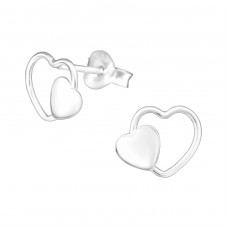 Double Heart - 925 Sterling Silver Plain Ear Studs A4S36962
