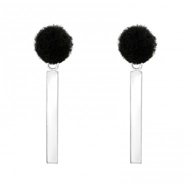 Pom-Pom With Hanging Bar - 925 Sterling Silver Plain Ear Studs A4S37057