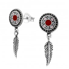 Round Ear Studs With Hanging Feather - 925 Sterling Silver Plain Ear Studs A4S37082