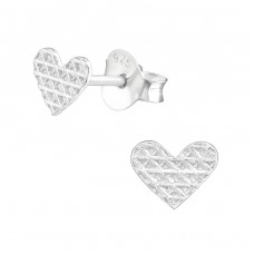 Heart - 925 Sterling Silver Plain Ear Studs A4S37133