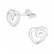 Heart - 925 Sterling Silver Plain Ear Studs A4S37180