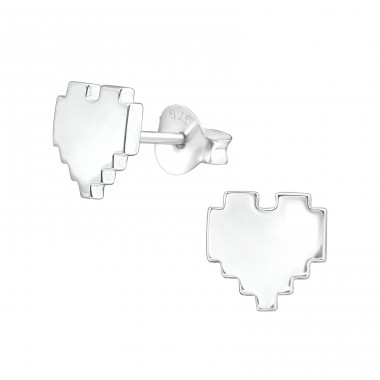 Heart - 925 Sterling Silver Plain Ear Studs A4S37181