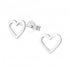 Empty Heart - 925 Sterling Silver Plain Ear Studs A4S37250