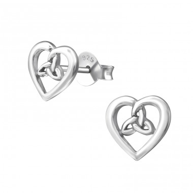 Celtic Heart - 925 Sterling Silver Plain Ear Studs A4S37324