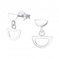 Silver Geometric Ear Studs With Hanging Semi Circle - 925 Sterling Silver Plain Ear Studs A4S37480