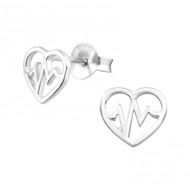 Heartbeat - 925 Sterling Silver Plain Ear Studs A4S37499