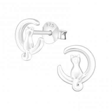 Cat - 925 Sterling Silver Plain Ear Studs A4S37500