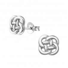 Celtic Knot - 925 Sterling Silver Plain Ear Studs A4S37526