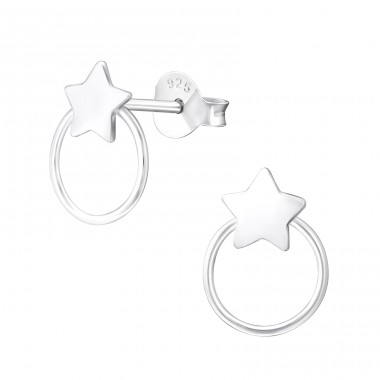 Star - 925 Sterling Silver Plain Ear Studs A4S37664
