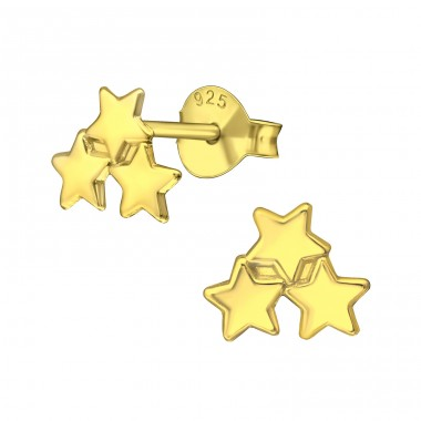 Triple Star - 925 Sterling Silver Plain Ear Studs A4S37749