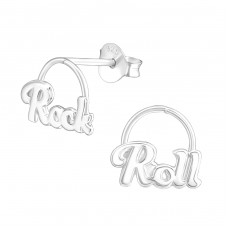 Rock And Roll - 925 Sterling Silver Plain Ear Studs A4S37752