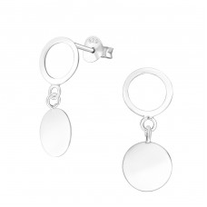 Hanging Round - 925 Sterling Silver Plain Ear Studs A4S37753