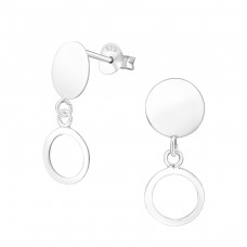 Hanging Round - 925 Sterling Silver Plain Ear Studs A4S37754