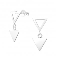 Hanging Triangle - 925 Sterling Silver Plain Ear Studs A4S37755