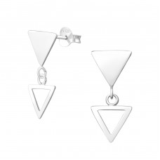Hanging Triangle - 925 Sterling Silver Plain Ear Studs A4S37756