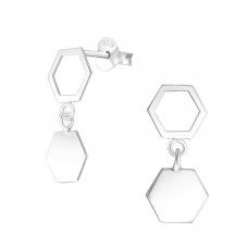 Hanging Hexagon - 925 Sterling Silver Plain Ear Studs A4S37757