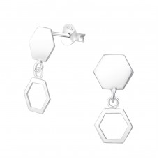 Hanging Hexagon - 925 Sterling Silver Plain Ear Studs A4S37758