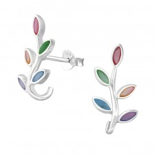 Olive Branch - 925 Sterling Silver Plain Ear Studs A4S37847