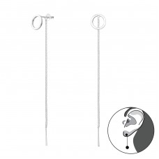 Silver Circle Ear Studs With Hanging Chain - 925 Sterling Silver Plain Ear Studs A4S37856