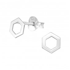 Hexagon - 925 Sterling Silver Plain Ear Studs A4S37923