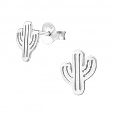 Cactus - 925 Sterling Silver Plain Ear Studs A4S37925