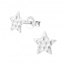 Star - 925 Sterling Silver Plain Ear Studs A4S38018