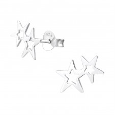 Double Star - 925 Sterling Silver Plain Ear Studs A4S38090