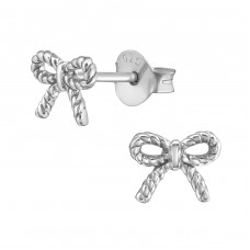 Bow - 925 Sterling Silver Plain Ear Studs A4S38091
