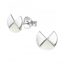 Geometric - 925 Sterling Silver Plain Ear Studs A4S38094