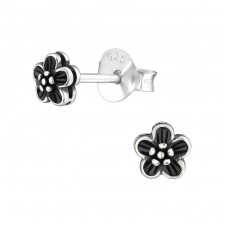 Flower - 925 Sterling Silver Plain Ear Studs A4S38176