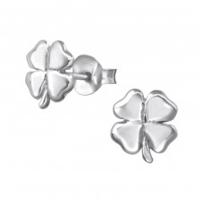 Lucky Clover - 925 Sterling Silver Plain Ear Studs A4S38178