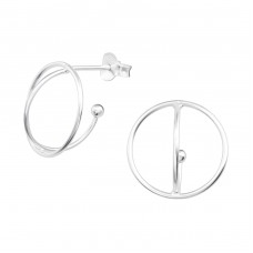 Geometric - 925 Sterling Silver Plain Ear Studs A4S38346