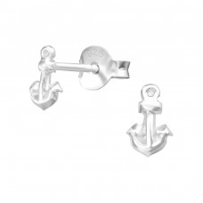 Anchor - 925 Sterling Silver Plain Ear Studs A4S38347