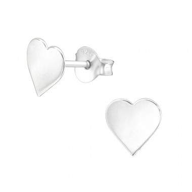 Heart - 925 Sterling Silver Plain Ear Studs A4S38348