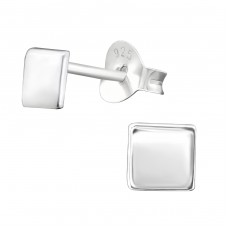 Square - 925 Sterling Silver Plain Ear Studs A4S38383
