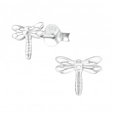 Dragonfly - 925 Sterling Silver Plain Ear Studs A4S38409
