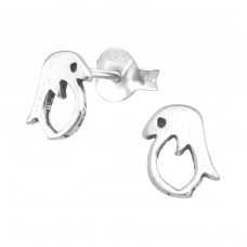 Penguin - 925 Sterling Silver Plain Ear Studs A4S38487