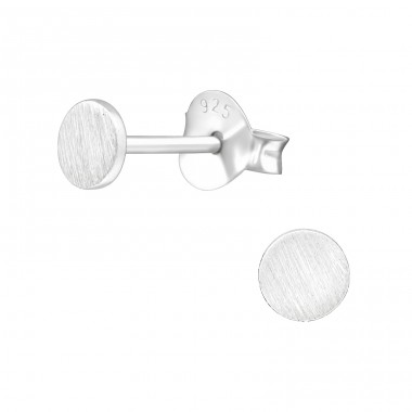 Round - 925 Sterling Silver Plain Ear Studs A4S38498