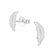 Feather - 925 Sterling Silver Plain Ear Studs A4S38532