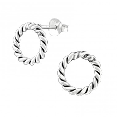Twisted - 925 Sterling Silver Plain Ear Studs A4S38533