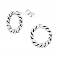 Twisted - 925 Sterling Silver Plain Ear Studs A4S38535