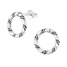 Twisted - 925 Sterling Silver Plain Ear Studs A4S38537