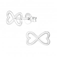 Bow - 925 Sterling Silver Plain Ear Studs A4S38575
